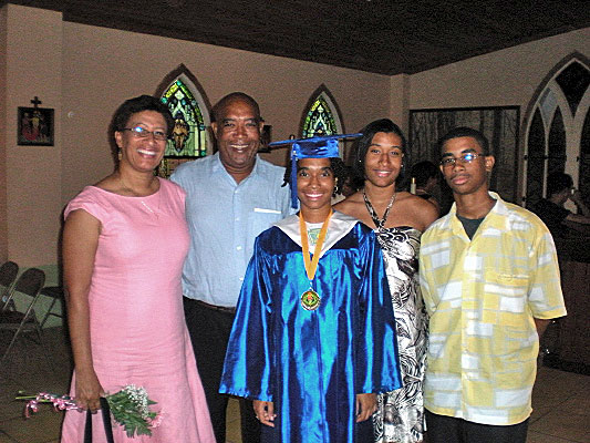 Sydney Paul Class Of 2008 Valedictorian At St Joseph High School On Croix Posed With Her Family After Graduation Church June 1